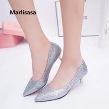 Marlisasa Women Fashion Sexy Golden Party High Heel Pumps Lady Silver Wedding