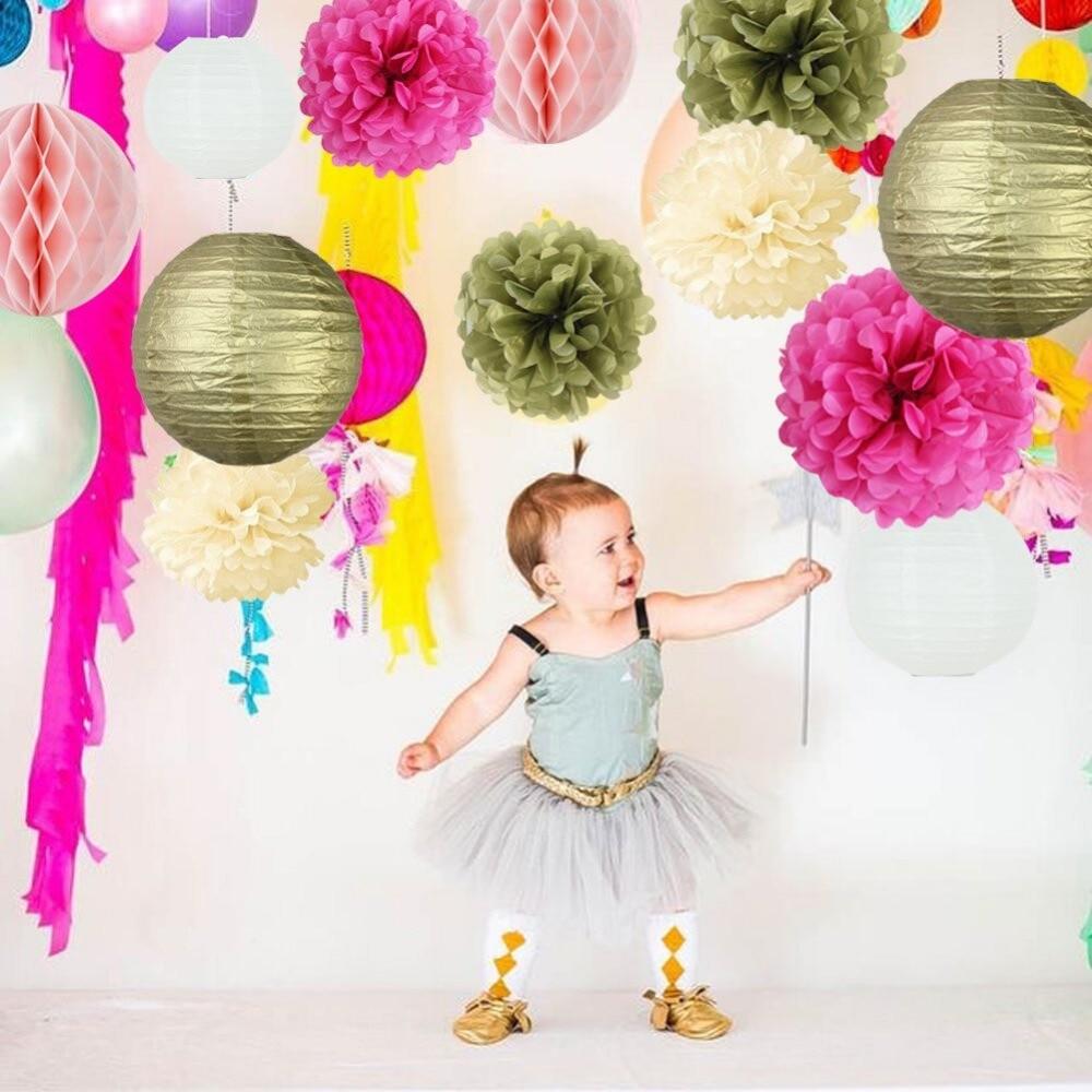 14 pcs Party Decoration Set Party Supplies Tissue Pom Poms/Lanterns/Honeycomb Balls for Birthday Baby Shower Weddings Decor