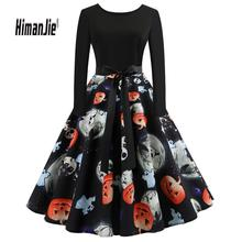 Hot Sale Vintage Women 2018 Halloween Pumpkin dress  Head Vintage Printing Long Sleeve Flare Dress