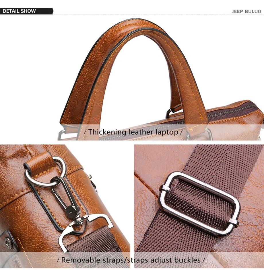 HTB16qEUeBOD3KVjSZFFq6An9pXa1 Famous Designer JEEP BULUO Brands Men Business Briefcase PU Leather Shoulder Bags For 13 Inch Laptop Bag big Travel Handbag 6013