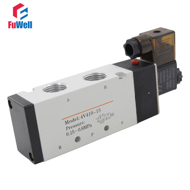 US $20 16 17% OFF|Aliexpress com : Buy 4V410 15 Pneumatic Solenoid Valve  DC24V PT1/2 Aluminum Alloy 5 Ports 2 Positions Electric Air Control Valve
