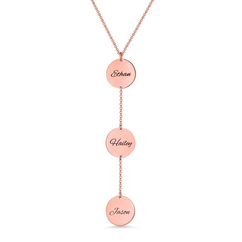 Personnalisé femmes/Lady Name personnalisé disque collier couleur or Rose pour la longueur de la chaîne 14