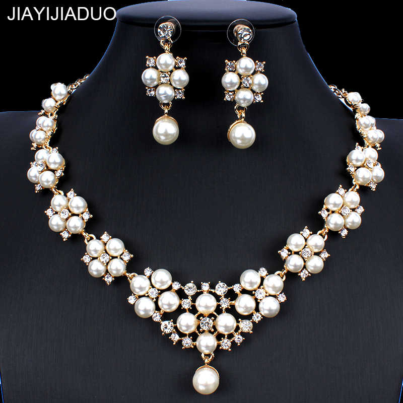 jiayijiaduo Bridal Wedding Jewelry Set Imitation Pearl Necklace Earrings for Women Accessories Dresses Accessories Gifts