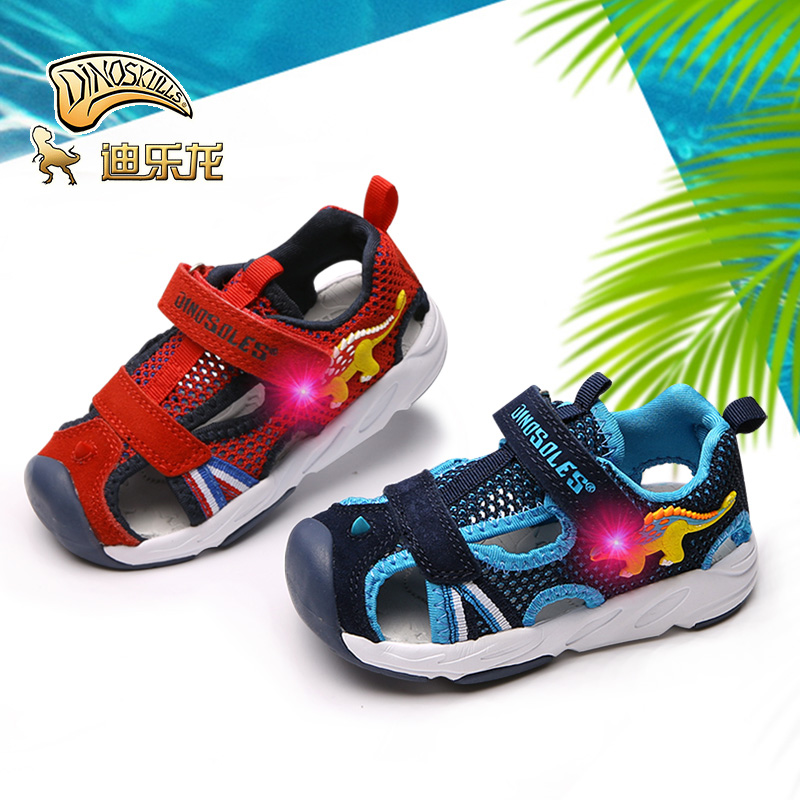 DINOSKULLS Baby Sandals Dinosaur LED Light Up Summer Child Boys Girl Beach Shoes Kids For 1 Year Fabric Cut-outs Sandals #23-#26