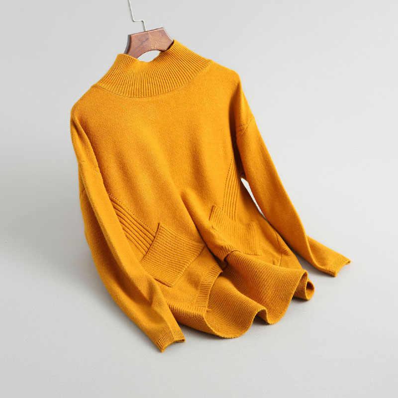 J722 여성 하프 터틀넥 더블 포켓 프론트 쇼트 백 롱 캐주얼 울 혼합 스웨터 숙녀 루스 풀오버 점퍼 스웨터