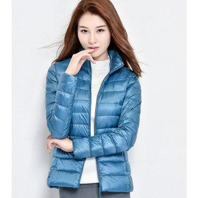 Женское зимнее пальто Новая мода 90% белый утиный пух куртка Сверхлегкий портативный тонкий пуховик женские зимние куртки парки - Цвет: Blue