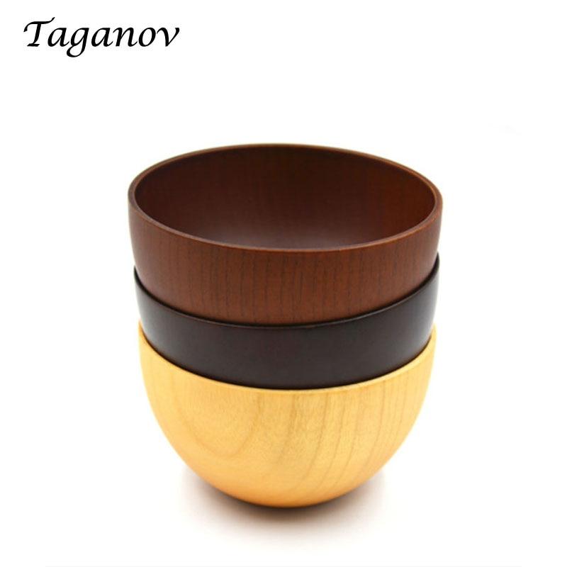 10 Pcs Lot Handmade chinese round wood bowl Wooden fruit Bowls Noodle bol jujube rice Food
