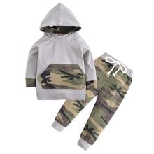 Г. Новая стильная одежда для маленьких мальчиков Камуфляжный топ с капюшоном и длинными рукавами+ штаны, комплект одежды из 2 предметов для новорожденных, комплект детской одежды