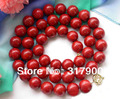 "Huge 34"" 18mm nature round red coral bead necklace"