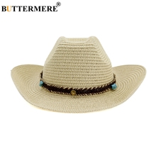BUTTERMERE Mens Cowboy Hat Summer Beach Sun Straw Cap Male Beige Vintage Bowknot With Knitted Belt Outdoor Spring