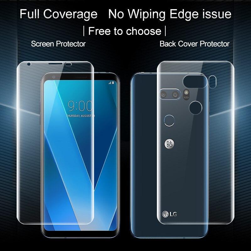 La sfor LG V30 Écran Protecteur IMAK 3D Pleine Couverture 2 PCS Avant + 2 PCS Retour Doux Hydrogel Écran Protecteur Pour LG V30 Plus V30 + H930