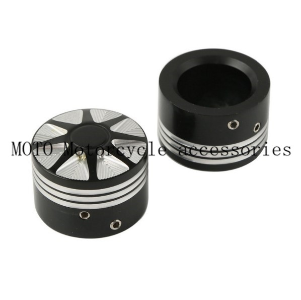 1 Pair Black CNC Front Axle Nut Cover Bolt Kit For Harley Touring Softail FLTR Edge Cut Front Axle Nut Cover Bolt Kit case