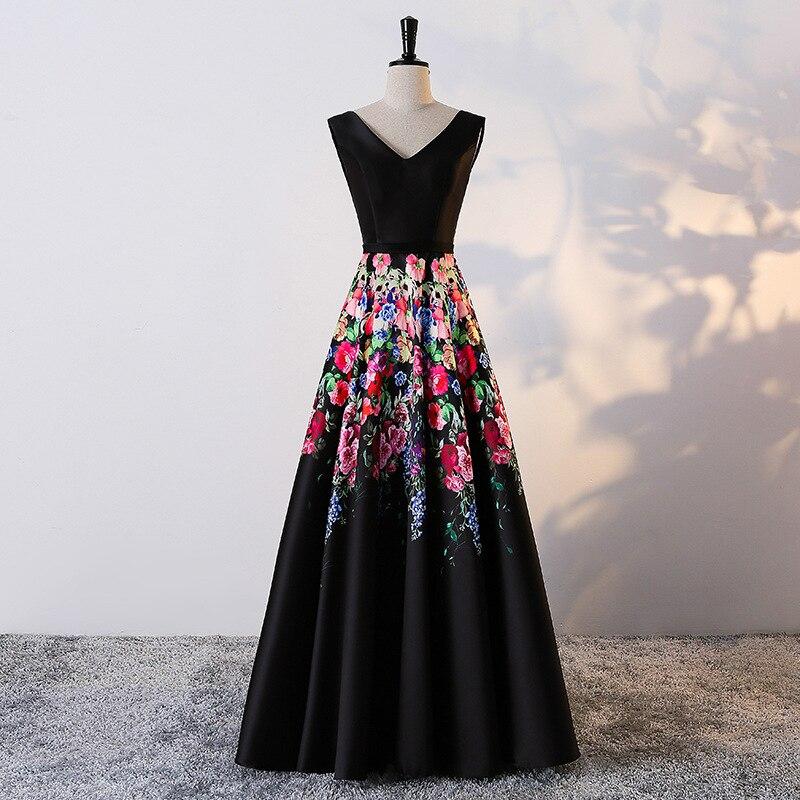 Праздничное платье кафтан элегантный черный v-образным вырезом Роза с цветочным принтом A-Line Формальные Длинные Вечерние платья Кружево-до ...