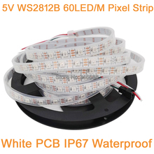 5m 5V WS2812B 60LED/M Dream Color RGB Pixel LED Strip,Built-in WS2811 IC Individually Addressable IP67 Tube Waterproof White PCB