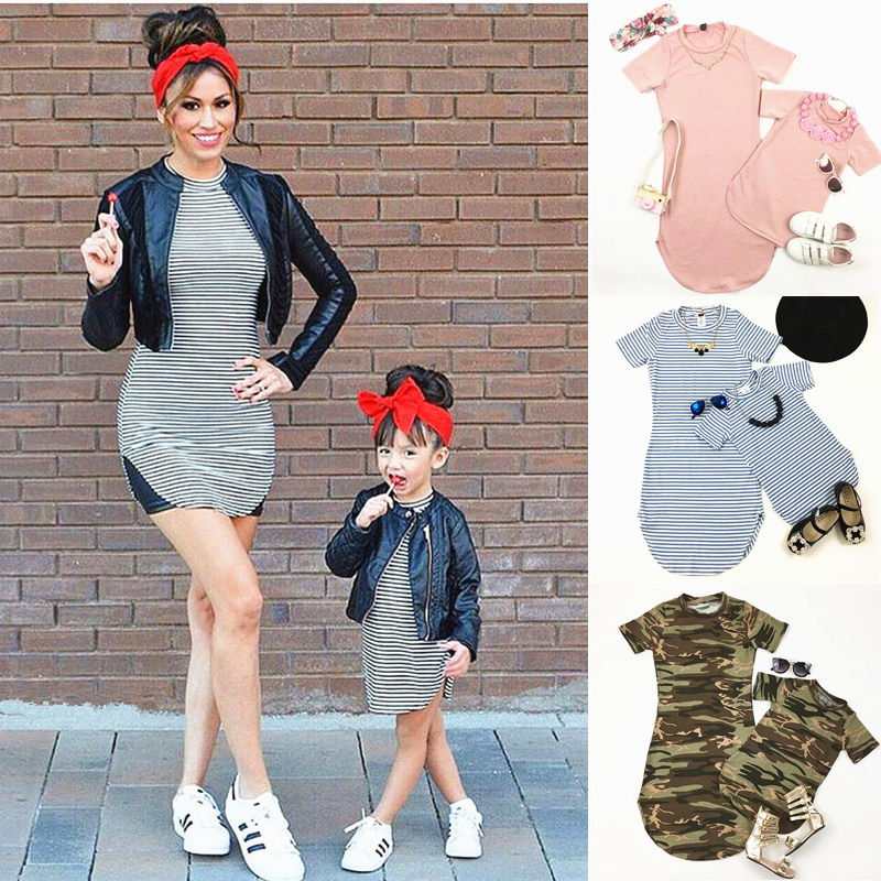 Pudcoco Mother Daughter Matching Dresses Women Girls striped Casual Dress Family Clothes telle mère telle fille vetement