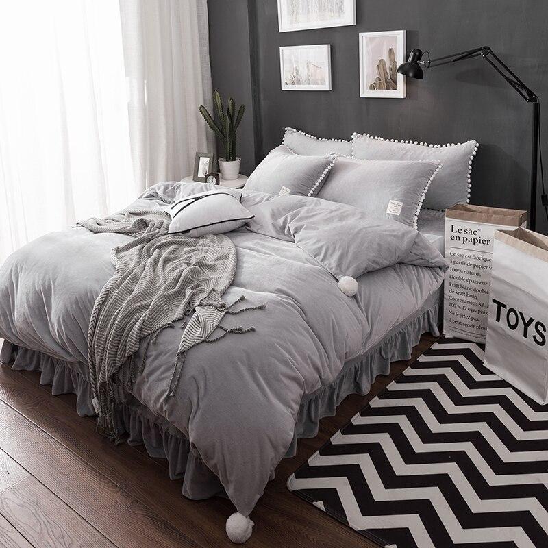 Grey blue <font><b>fleece</b></font> winter warm bedclothes bedding sets queen king size <font><b>white</b></font> <font><b>ball</b></font> cute duvet cover bed linen set pillowcase