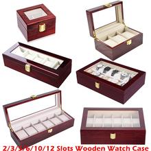 Luksusowe drewniane pudełko na zegarek uchwyt na zegarek pudełko do zegarków mężczyzna szklanym wieczkiem organizator na biżuterię 2 3 5 12 siatki organizator zegarków nowy D40 tanie tanio Moda casual 11cm Nowy z metkami 270070 Prostokąt 8 5cm Drewna 12cm Mieszane materiały Red wood Glass Top Jewelry Organizer