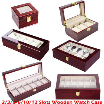 Luxury Wooden Watch Box Watch Holder Box For Watches Men Glass Top Jewelry Organizer Box 2 3 5 12 Grids Watch Organizer New D40 - DISCOUNT ITEM  40% OFF All Category