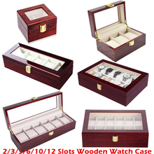 caixa para relogio Luxo de madeira caixa de relógio titular caixa de relógio para relógios masculino vidro superior jóias organizador 2 3 5 12 grades relógio organizador novo d40