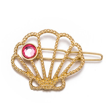 Mossovy Alloy Geometric Simple Shell Zircon Gold Hair Pins for Women Fashion Metal Accessories Female Jewelry