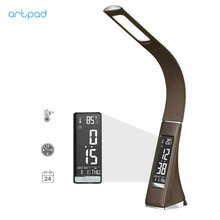 Black Brown Modern LED Table Desk Lamp With Clock Calendar Time Alarm Display Dimmer Business Study Work Desktop
