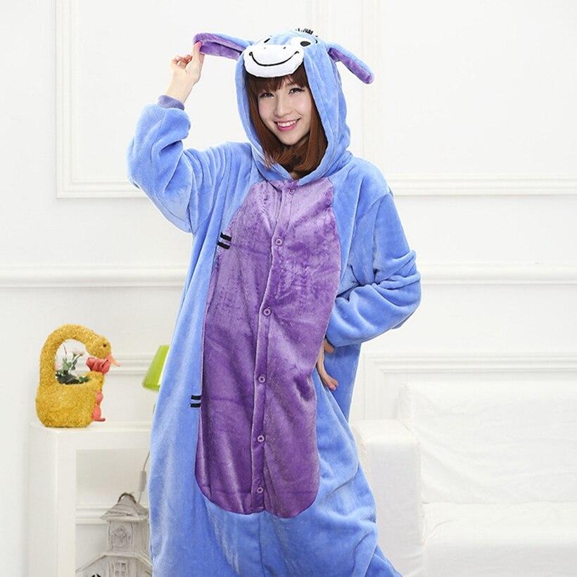 Мать Отец дочь мальчик Платья для женщин Семейные комплекты пижамы с капюшоном пижамы мультфильм животных синий осел Косплэй пижамы Pijamas