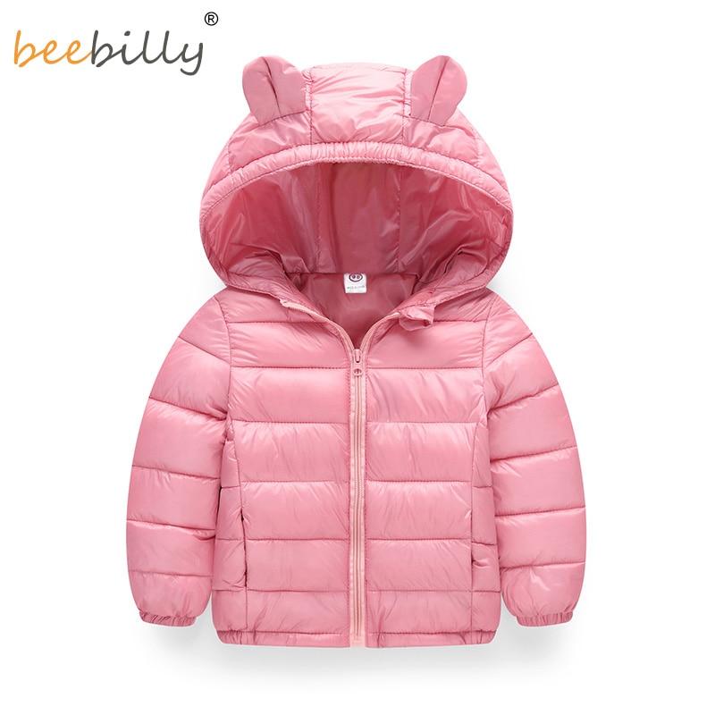 BEBILLY الفتيات الشتاء جاكيتات بنين كارتون نمط فتاة الموضة ملابس اطفال بنات ملابس مقنع سترات للبنات القطن ستر