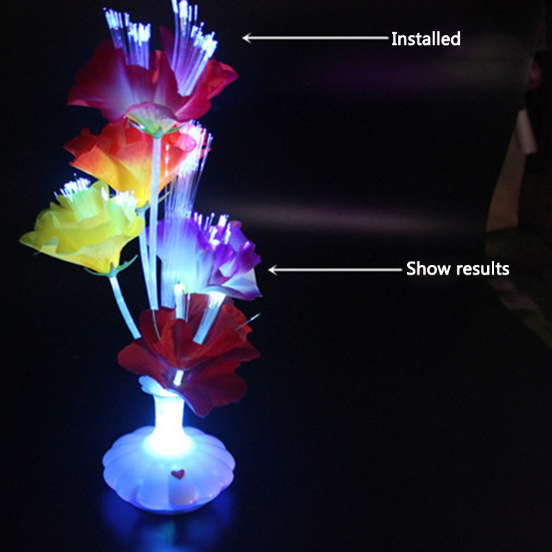 1 PC New LED Artificial flower Optical Fiber Lamp Flower Calla Lily Vase Night Light Decoration for Home Party Decor
