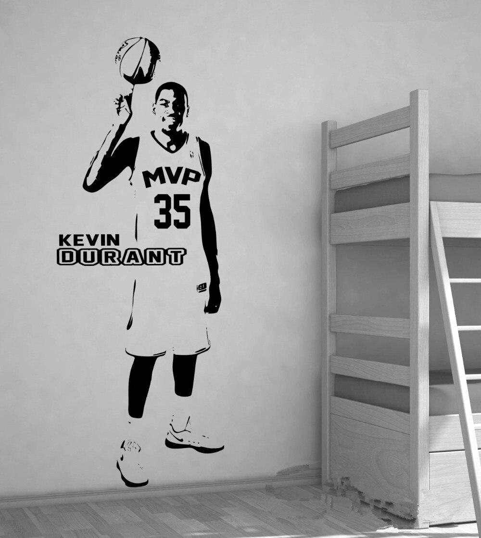 Basketbal MVP Kevin Durant Velká nástěnná umění Samolepky na zeď Samolepky na zeď Dekorace Ložnice Chlapci Děti Pokoj Nástěnné umění 3d Vyměnitelná nástěnná malba