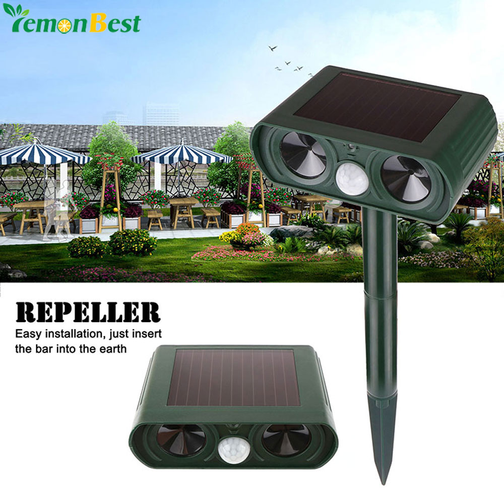 Outdoor waterproof solar power ultrasonic animal pest for How to scare animals away from garden