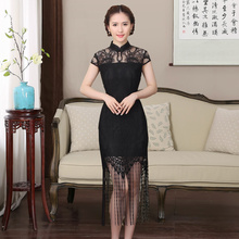 Stylish black lace short cut improved daily cheongsam young Lady banquet dress Shanghai Story Lace Cheongsam national trend Wear