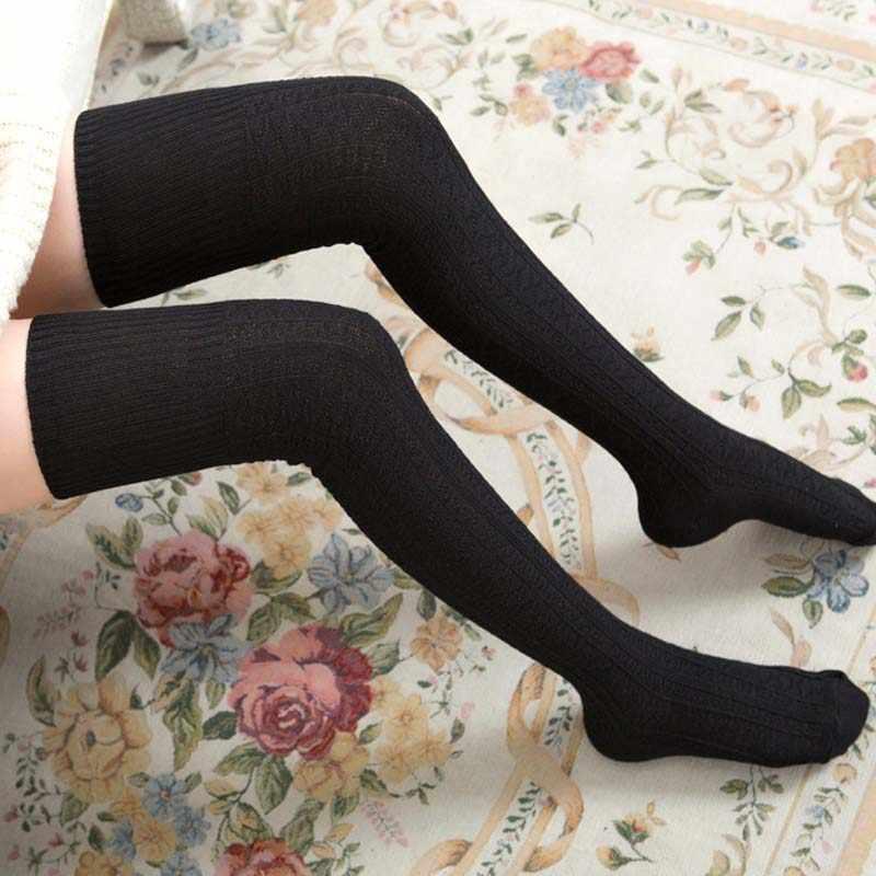 2018 ใหม่แฟชั่นผู้หญิงมากกว่าเข่าถุงเท้ายาว Boot ถักต้นขาสูงสีดำสีเทาถุงน่องสุภาพสตรีอุปกรณ์เสริม 7G0419