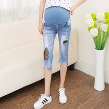 Hot Sale New 2018 Summer Pregnant Women Fashion Casual Tassel Hole Jeans Capri Pants Maternity Vintage Light Blue Jeans Trousers(China)