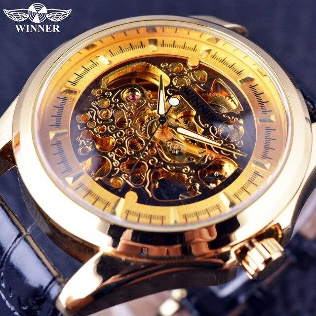 45a4104bf4d Vencedor de Ouro Movimento Dentro Caso Transaprent Escultura Real Dos Homens  Relógios Top Marca de Luxo