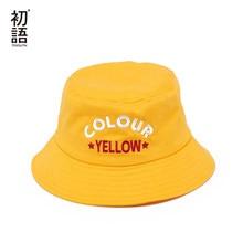 Toyouth Mulheres Harajuku Chapéu de Pescador Chapéu de Balde Casuais  Amarelo Pesca Chapéus de Sol Algodão a65501943e9