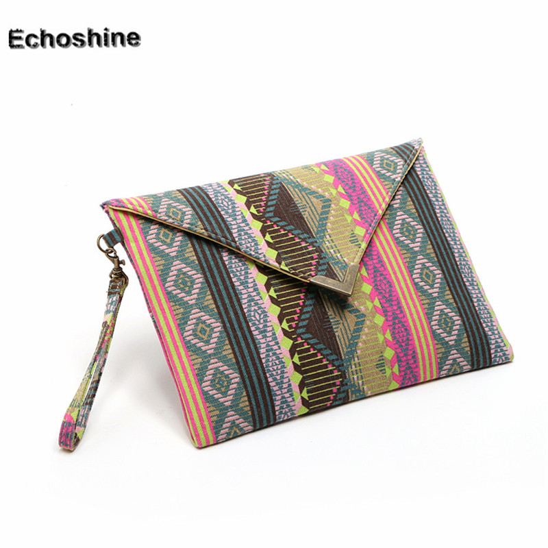National flavor geometric canvas bags Envelope package ethnic style hand bags women phone package purses big wallet gift A2000