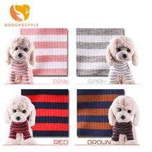 Эластичная приталенная рубашка для домашних животных, одежда в полоску для собак, хлопковая теплая зимняя футболка, костюм для кошек, щенков, DOGGYZSTYLE одежды