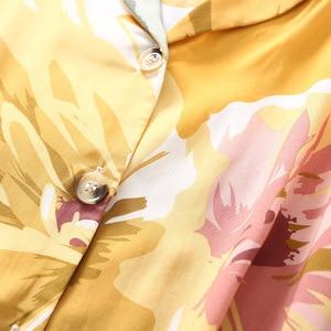 Image 3 - Summer New Nightgown Flower Ink Printing Satin Pajamas Short sleeved Sleepwear Ankle Length Pants Loungewear Pijama Home Clothes