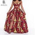 2016 лето Африканские платья для женщин Устанавливает короткий топ и длинные юбки короткие рукава без бретелек батик Картины Старинные Печати