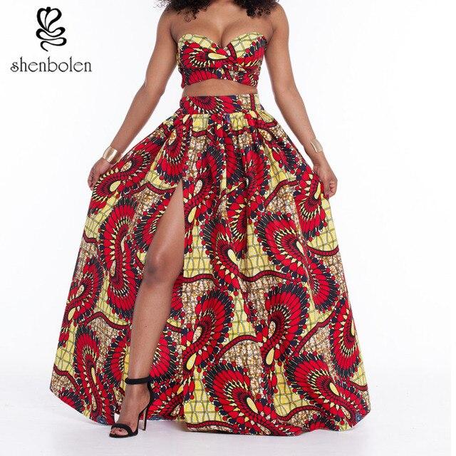 2016 summer African dresses for Women's Sets short top and long skirt short sleeves strapless batik Pattern Vintage Print