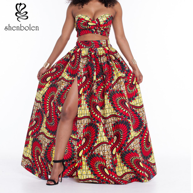 8f8667fd046 African Traditional Clothing Set Women Tube Top And Long Skirt Cotton Super  Wax Pattern Vintage Print