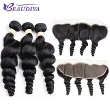 Brazilian Loose Wave With Closure 3 Bundles With 13*4 Free Part Ear to Ear Lace Frontal Remy Brazilian Human Hair Weave Bundles стоимость