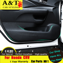 A&T car styling For Honda CRV leather pad kick refit special protective interior doors 2015 for CRV Door kick pad