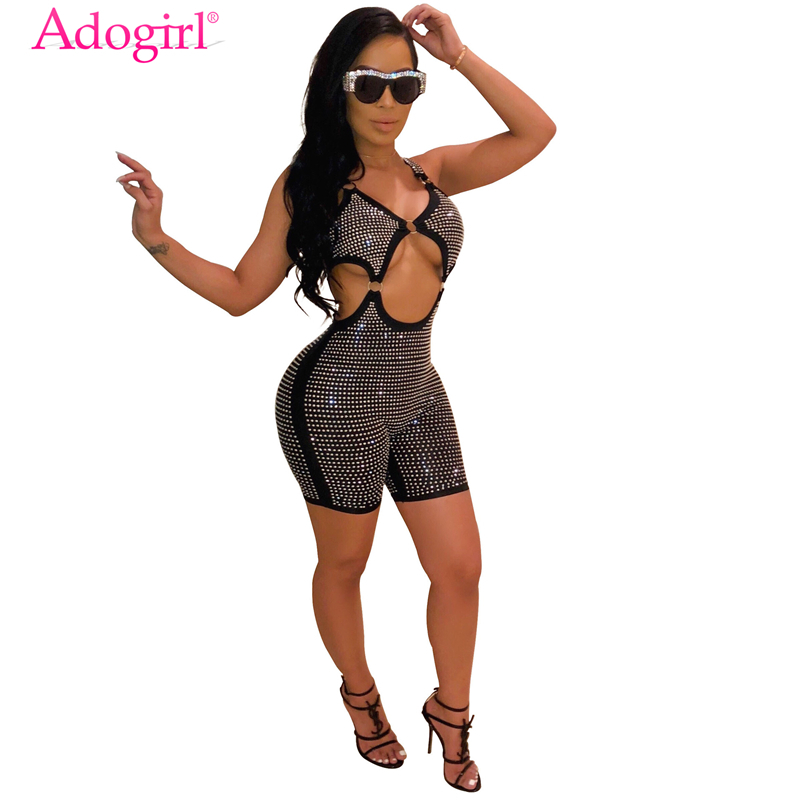 Adogirl Diamonds Spaghetti Straps Night Club Party   Jumpsuit   Women Sexy V Neck Hollow Out Backless Shorts Romper Fashion Playsuit