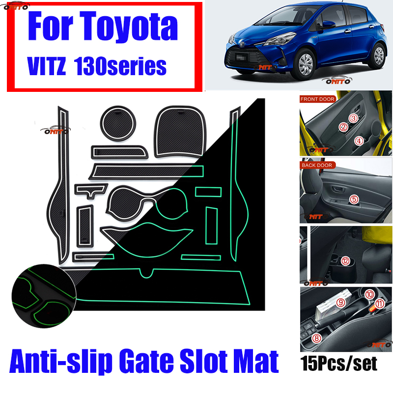 15pcs/set Dust-proof Soft Rubber Gate Slot Mat Pad Covers Door Groove Mat Car Interior Accessorie  For TOYOTA VITZ 130 Series