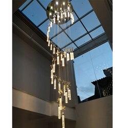 Kryształowy żyrandol oświetlenie schody długi żyrandole kryształowe bańka kolumna zawieszenie światła salon schody w holu hotelu światła|Wiszące lampki|Lampy i oświetlenie -