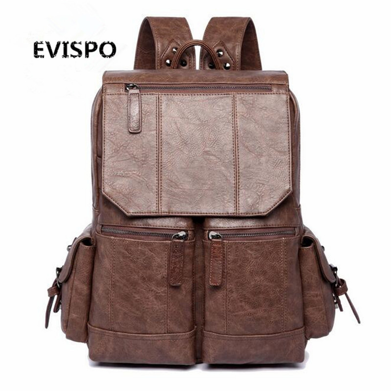 ФОТО High Quality England Vintage Style PU Leather Men Backpacks For College Preppy Style School Backpacks for 17 inch laptop bags