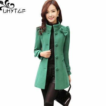 UHYTGF Fashion Slim Women Wool Jacket New Winter Outerwear Women Standing collar Single-breasted Bow Houndstooth Woolen Coat 903 - DISCOUNT ITEM  33% OFF All Category