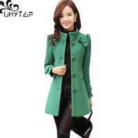UHYTGF Fashion Slim Women Wool Jacket New Winter Outerwear Women Standing collar Single breasted Bow Houndstooth Woolen Coat 903