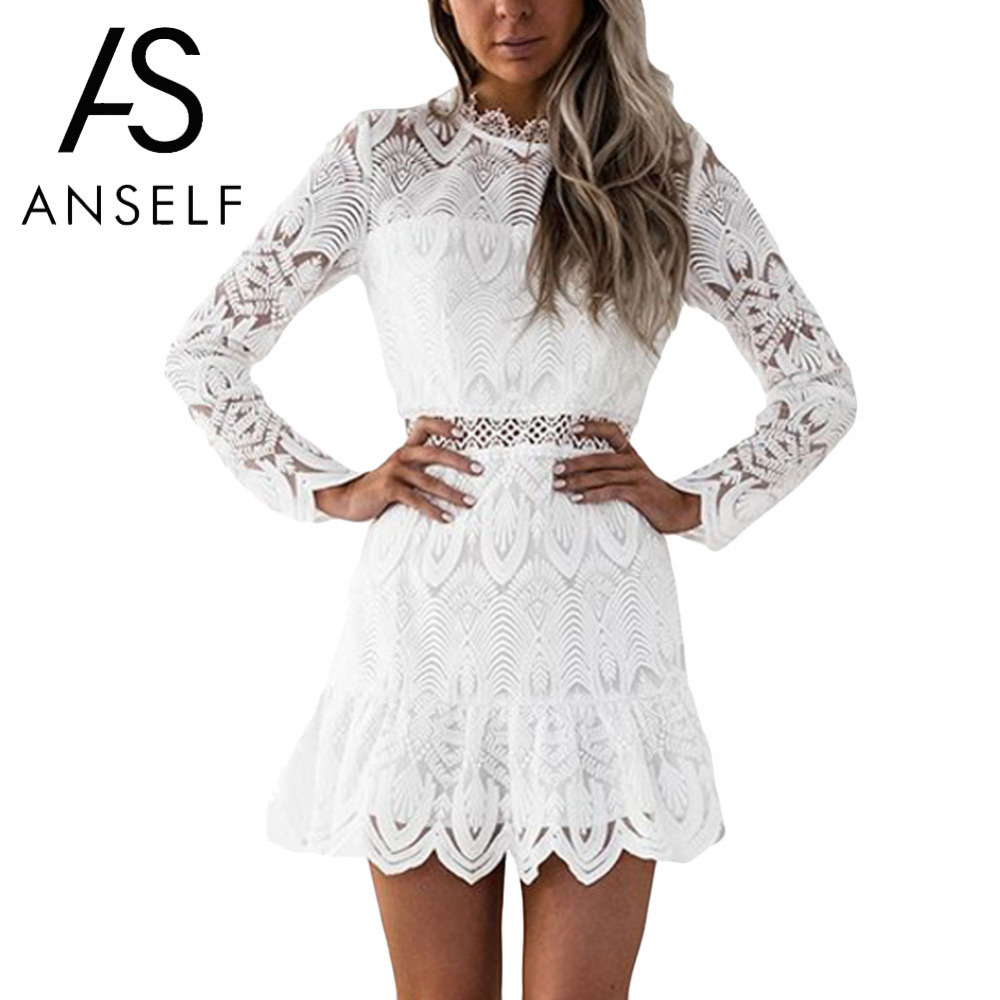 Anself Women Dress 2019 Hollow Out Long Sleeve Lace Dress O-Neck Elegant Mini Evening Party Slim Short A-line Dresses Ropa Mujer long sleeve short white dress